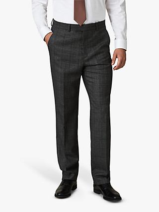 Jaeger Wool Mouline Check Regular Fit Suit Trousers, Grey
