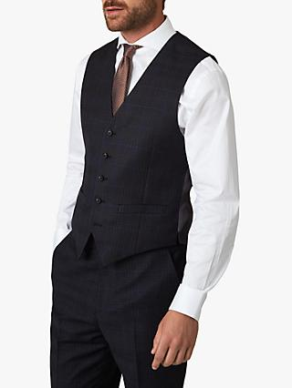 Jaeger Wool Check Regular Fit Waistcoat, Navy