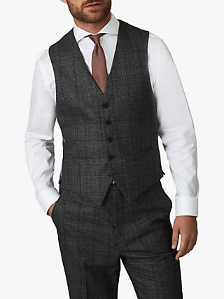 Jaeger Wool Mouline Check Regular Fit Waistcoat, Grey