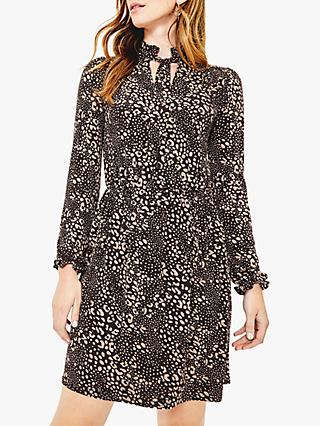 Oasis Mollie Animal Print Dress, Black/Multi