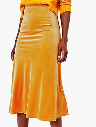 Oasis Bias Cut Midi Skirt, Mid Yellow
