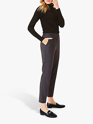 Oasis Straight Cut Tailored Trousers, Mid Grey