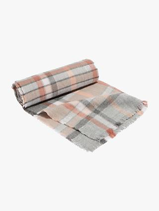 Oasis Ali Check Scarf, Mid Grey