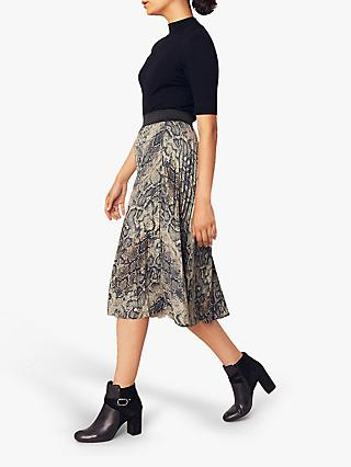 Oasis Snake Faux Leather Pleated Skirt, Multi