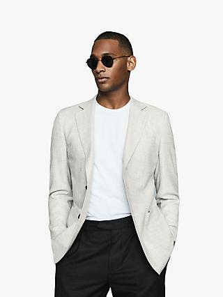 Reiss Edition Textured Wool Blend Blazer, Soft Grey