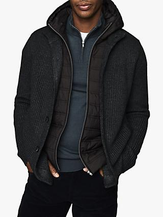 Reiss Carlos Ribbed Cardigan with Hoodie Insert, Charcoal