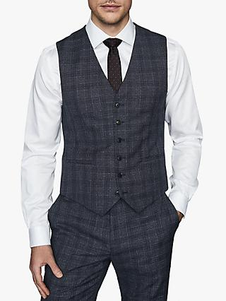 Reiss Bagley Wool Blend Prince of Wales Check Waistcoat, Indigo