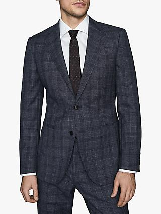 Reiss Bagley Wool Blend Prince of Wales Check Tailored Suit Jacket, Indigo