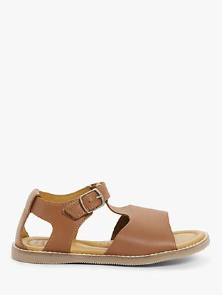 John Lewis & Partners Children's Leather T-Bar Sandals, Tan