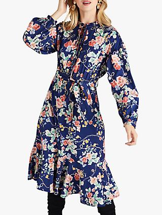 Yumi Rose And Chain Print Frilled Midi Dress, Navy
