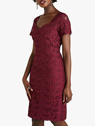 Yumi Sweetheart Neck Lace Dress, Burgundy