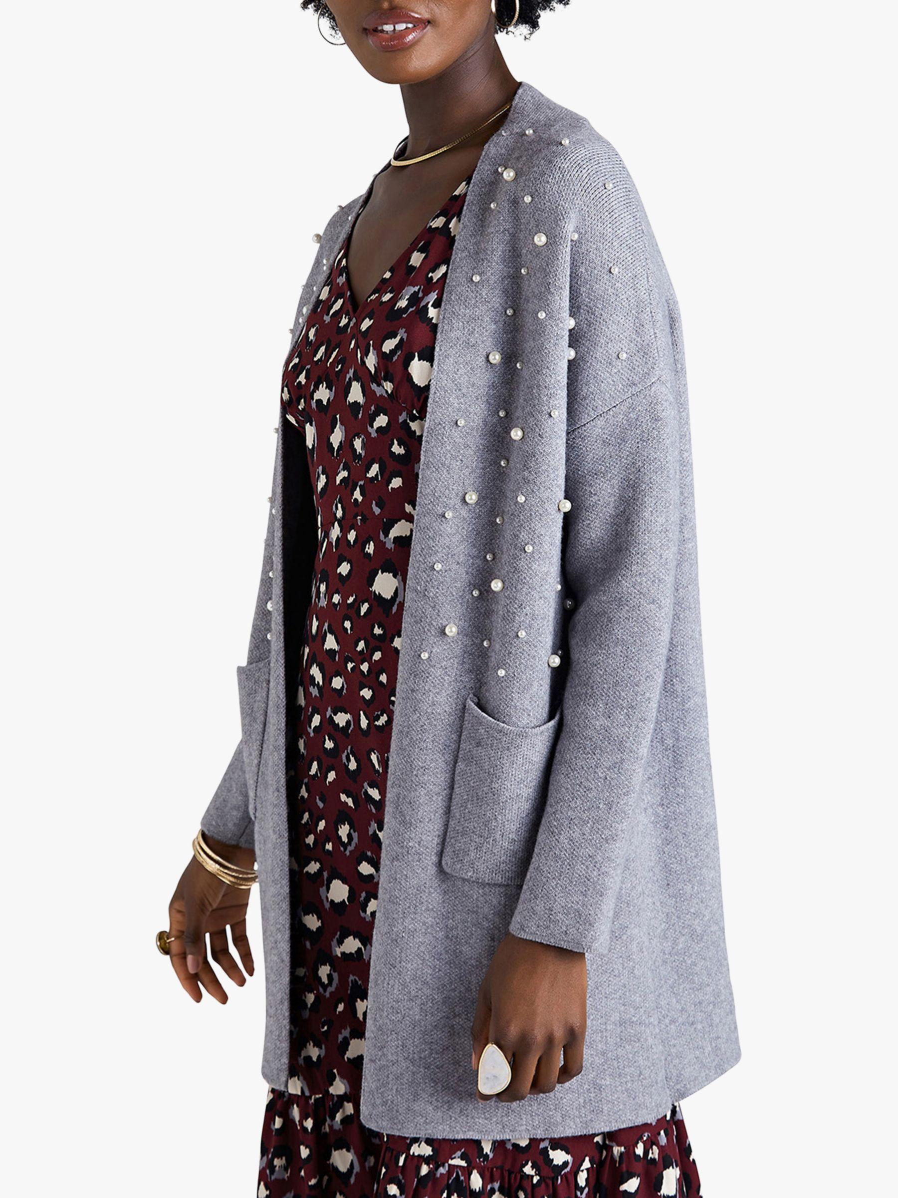 Yumi Yumi Pearl Applique Knit Long Cardigan, Grey