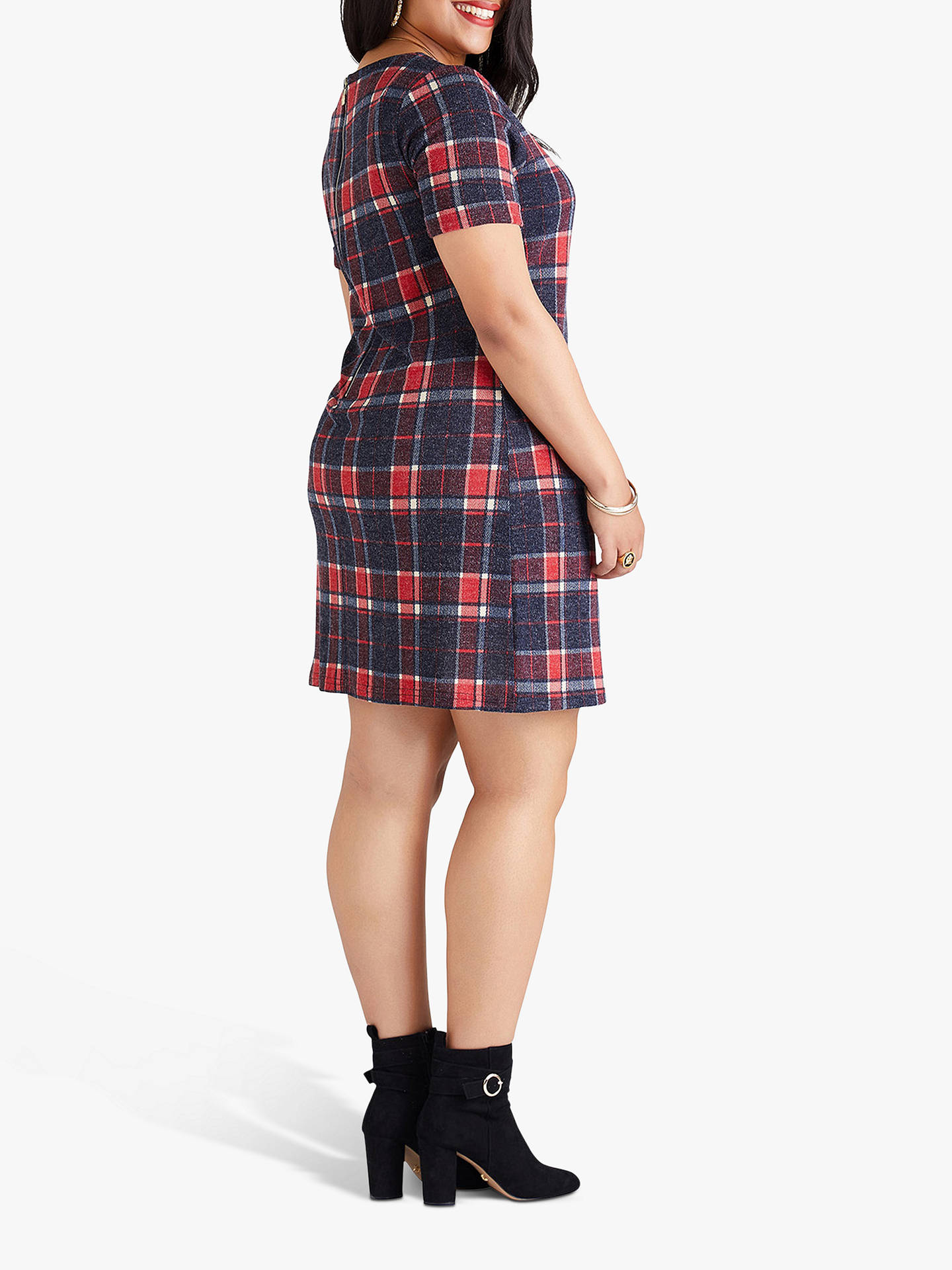 Buy Yumi Curves Zip Check Tunic, Red, 18 Online at johnlewis.com