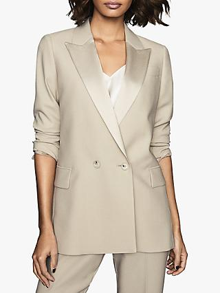 Reiss Cleo Soft Double Breasted Tuxedo Jacket, Champagne
