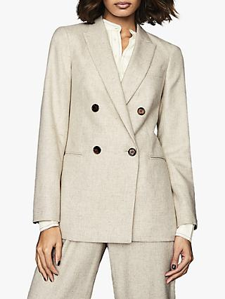 Reiss Lauren Double Breasted Longline Tailored Jacket, Oatmeal