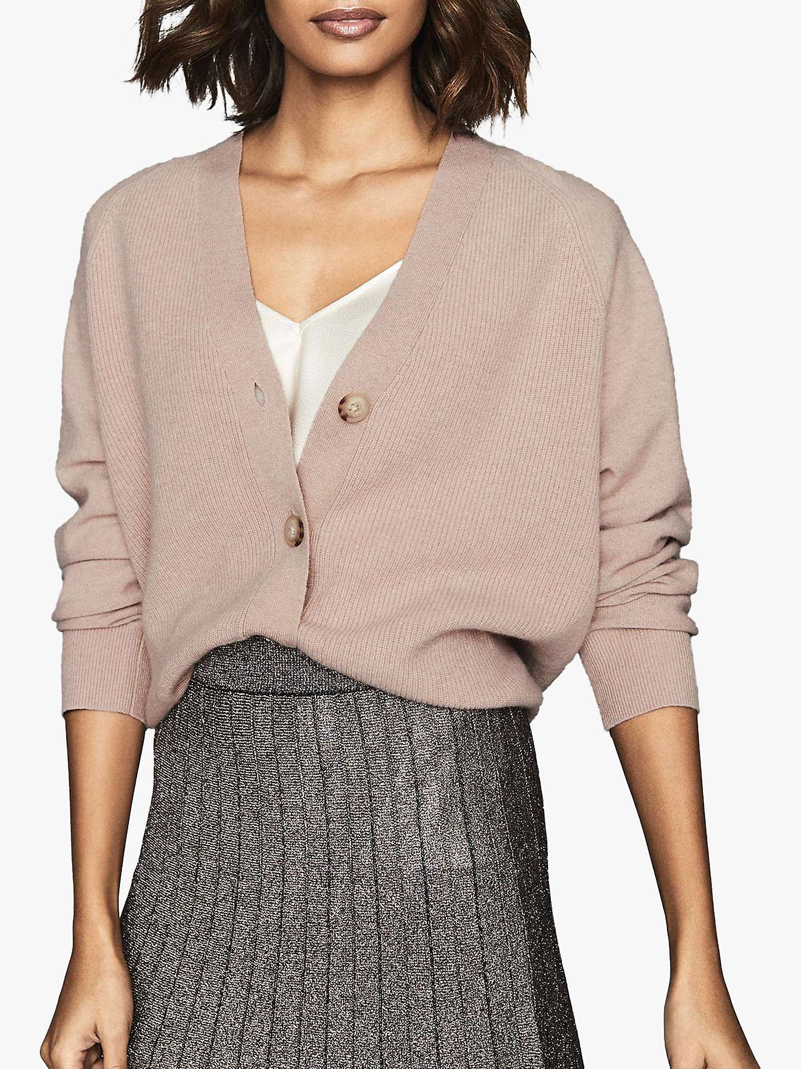reiss-simone-wool-cashmere-blend-cardigan,-blush by john-lewis