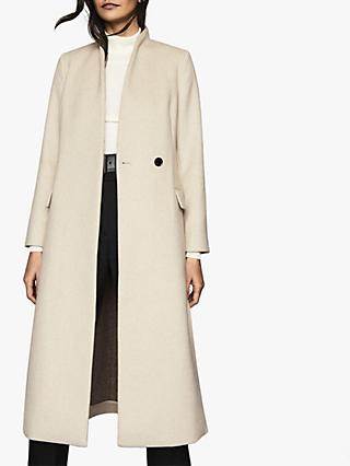 Reiss Willow Wool Blend Coat, Cream