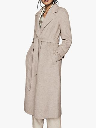 Reiss Lily Herringbone Wool Blend Overcoat, Oatmeal