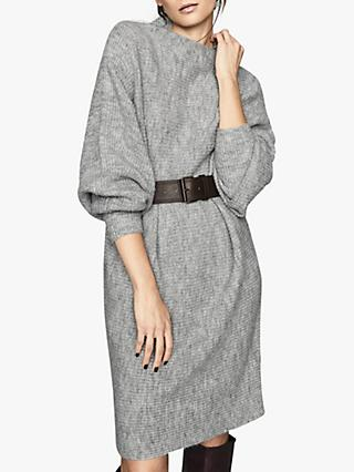 Reiss Nicole Knitted Ribbed Jumper Dress, Grey