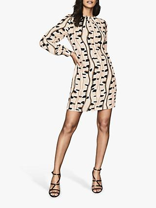 Reiss Stevie Snake Print Mini Dress, Neutral