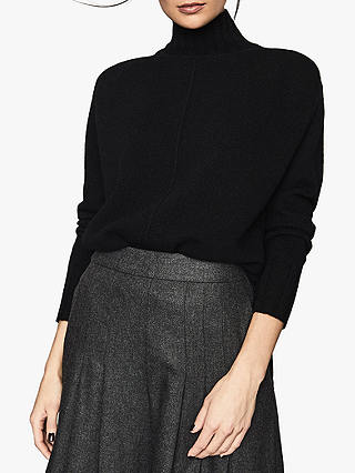 Buy Reiss Bonnie Cashmere Wool Blend Roll Neck Jumper, Black, XS Online at johnlewis.com