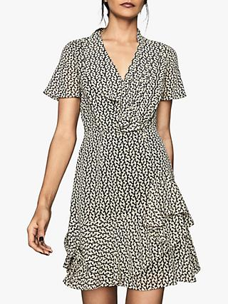 Reiss Paris Desert Trail Print Ruffle Dress, Black/White