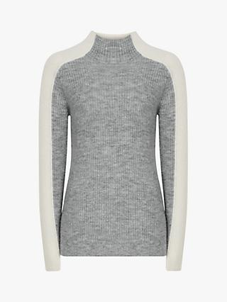 Reiss Ciara Colour Block Funnel Neck Jumper, Grey/White