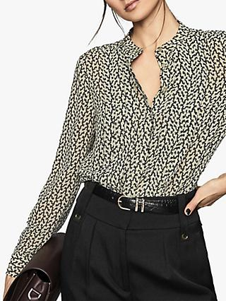Reiss Lea Desert Trail Print Blouse, Black/White