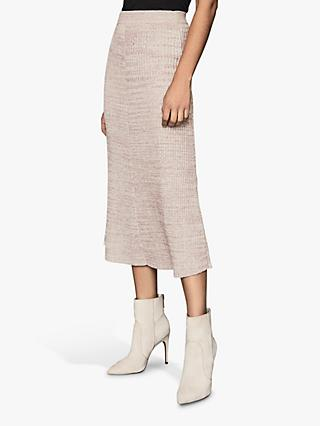 Reiss Skyla Knitted Midi Skirt, Pink
