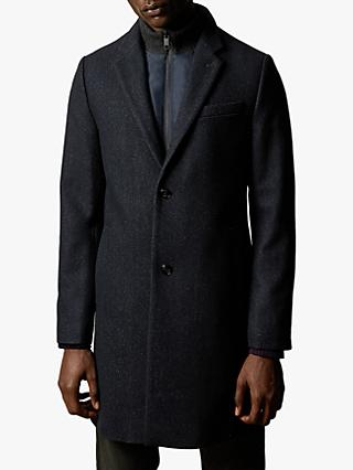 Ted Baker Saffend Semi Plain Wool Overcoat, Navy