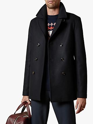 Ted Baker Westutt Rich Wool Double Breasted Peacoat, Navy