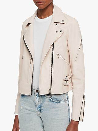 AllSaints Prescott Leather Biker Jacket, Nude Pink