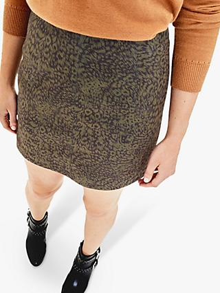 Oasis Faux Suede Animal Skirt, Khaki