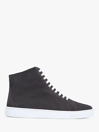 Mint Velvet Freya Suede High Top Trainers, Dark Grey