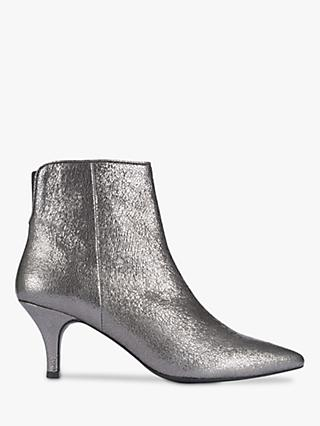 Mint Velvet Lorna Metallic Leather Ankle Boots, Dark Grey