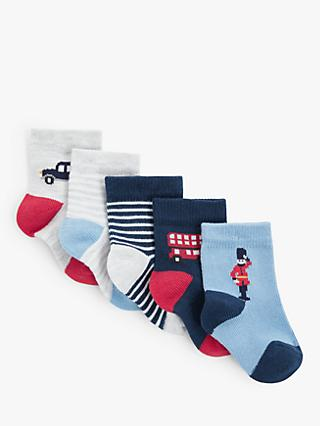John Lewis & Partners Baby London Socks, Pack of 5, Blue