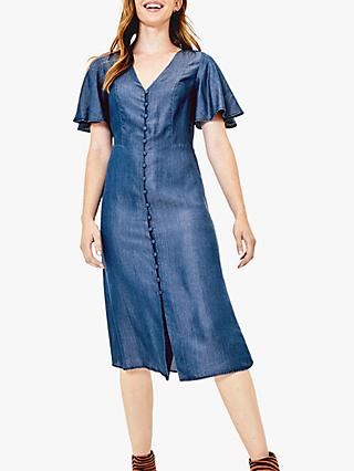 Oasis Button Down Midi Dress, Dark Wash Blue