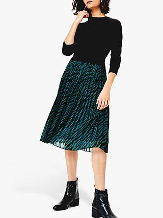 Oasis Talia Jumper Skirt Dress, Green/Multi