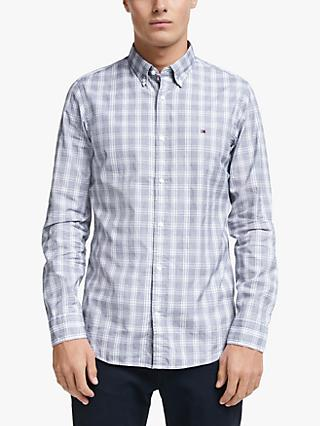 Tommy Hilfiger Long Sleeve Slim Fit Check Shirt, Carbon Navy/White