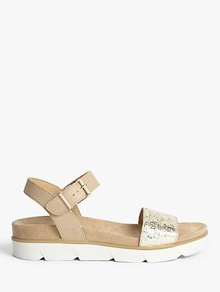 John Lewis & Partners Designed for Comfort Lottie Suede Two Part Sandals, Gold