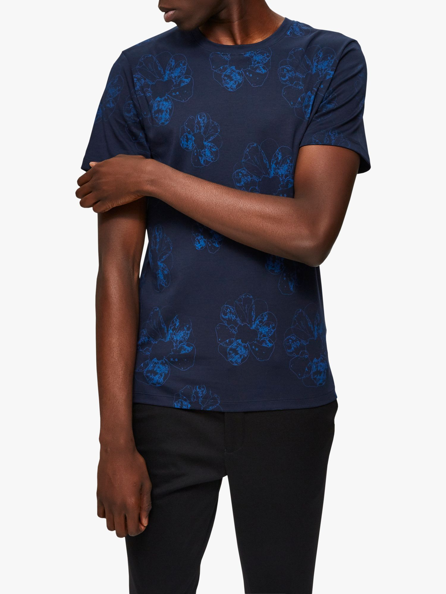 Selected Homme SELECTED HOMME Short Sleeve Floral T-Shirt, Sky Captain