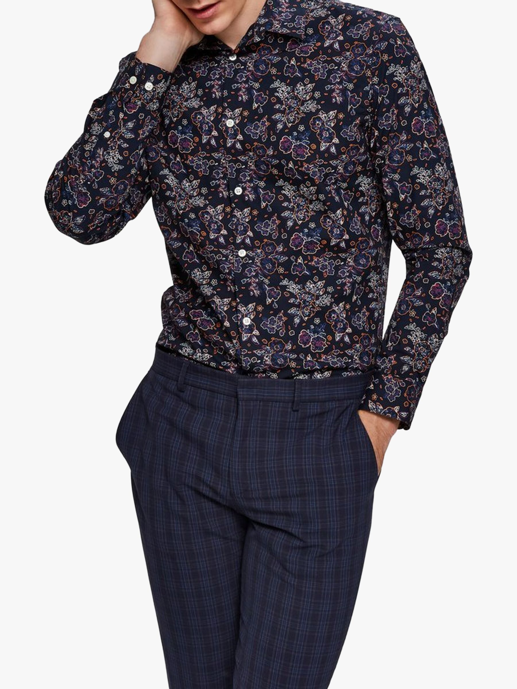 Selected Homme SELECTED HOMME Print Slim Fit Cotton Shirt, Sky Captain