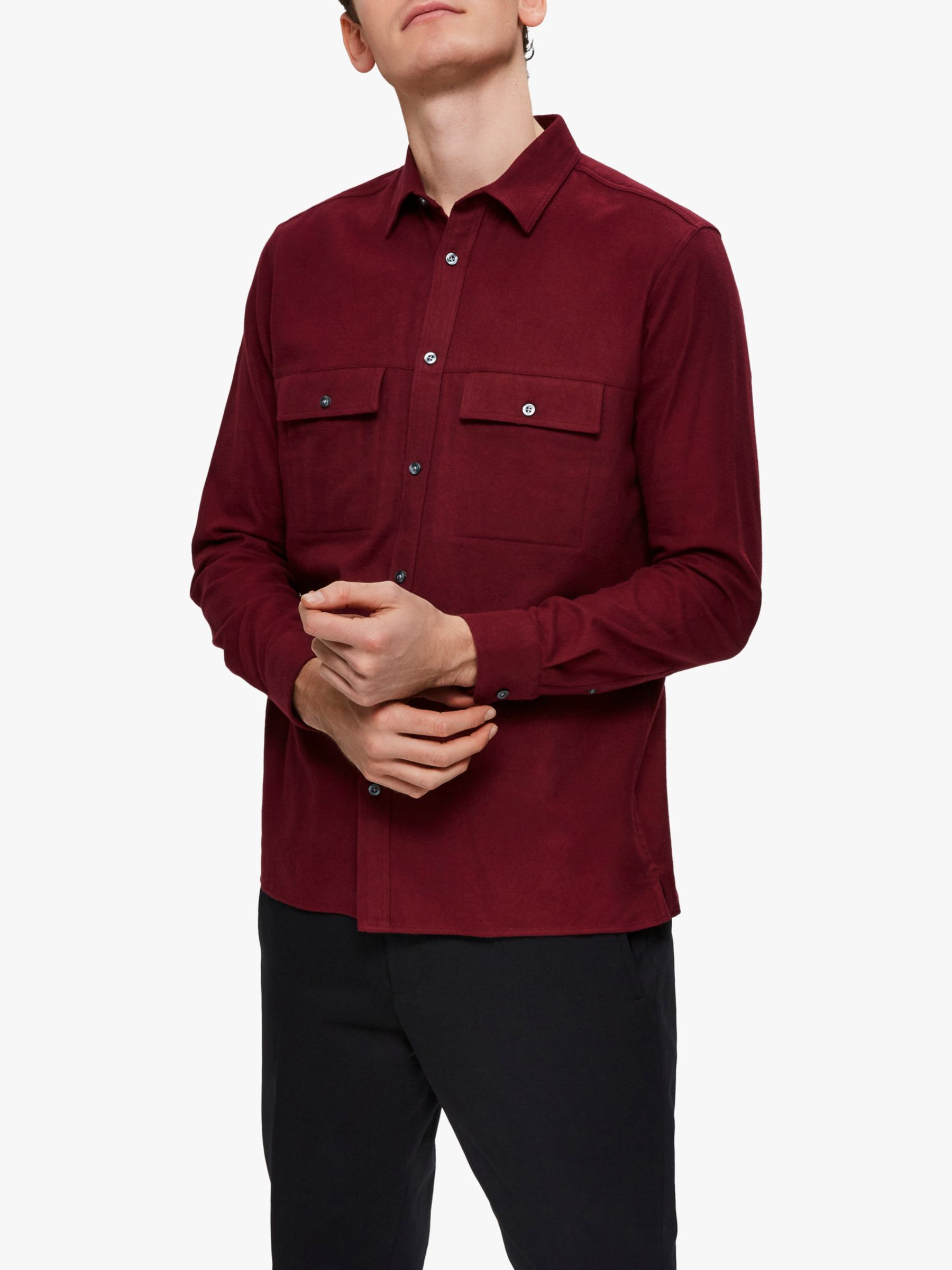 Selected Homme SELECTED HOMME Cotton Flannel Shirt, Burgundy