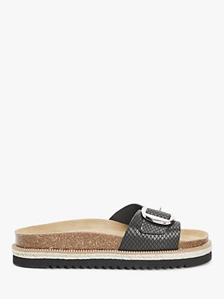 AND/OR Lula Leather Buckle Flatform Sandals, Black