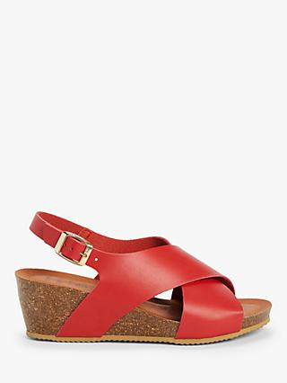 John Lewis & Partners Kelsea Footbed Sandals, Red