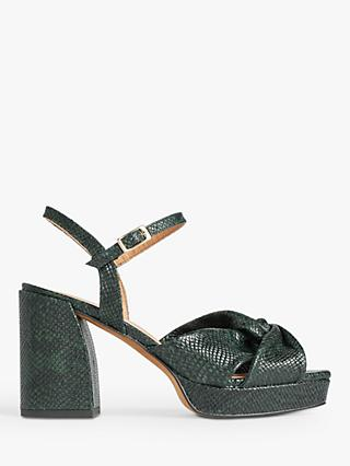 Jigsaw Chunky Platform Leather Sandals, Green