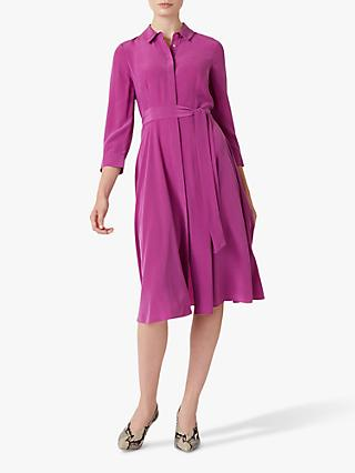 Hobbs Silk Lainey Shirt Dress, Deep Orchid