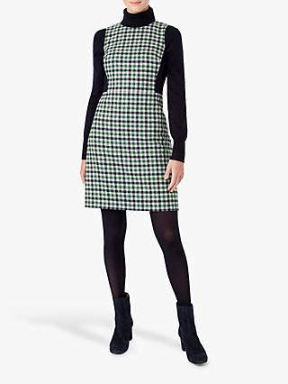Hobbs Rosella Wool Dress, Ivory/Green