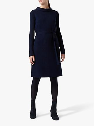 Hobbs Audrey Knitted Tie Dress, Navy