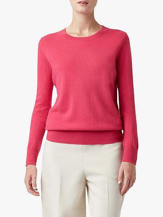 Buy Hobbs Freya Fine Knit Cashmere Jumper, Hot Pink, XS Online at johnlewis.com
